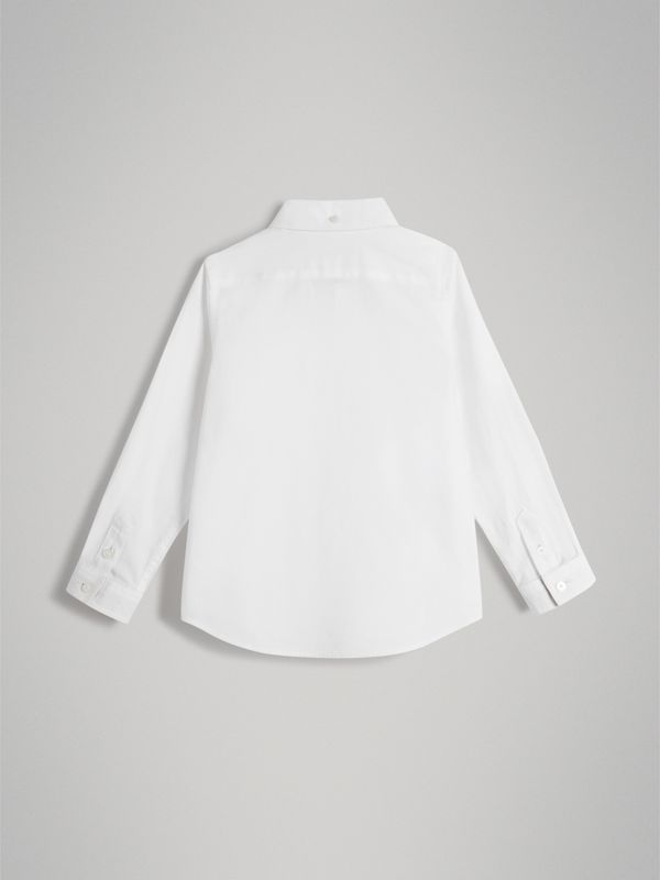 Cotton Button-down Collar Shirt in White - Boy | Burberry - cell image 3