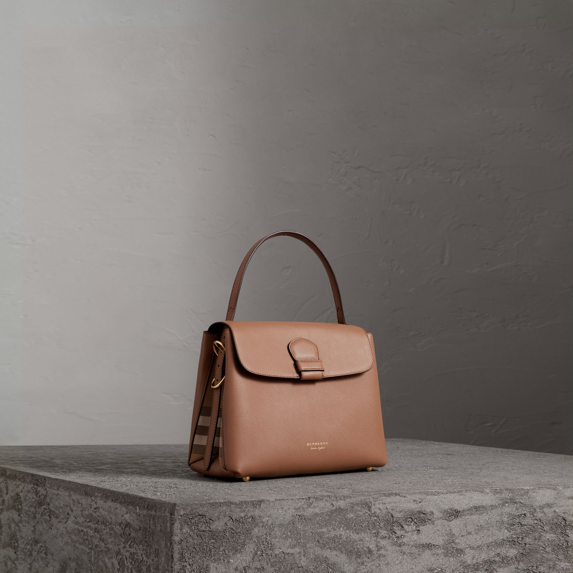 Small Grainy Leather and House Check Tote Bag in Dark Sand - Women | Burberry Singapore - gallery image 0
