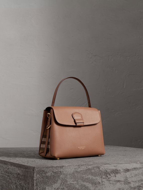 Small Grainy Leather and House Check Tote Bag in Dark Sand