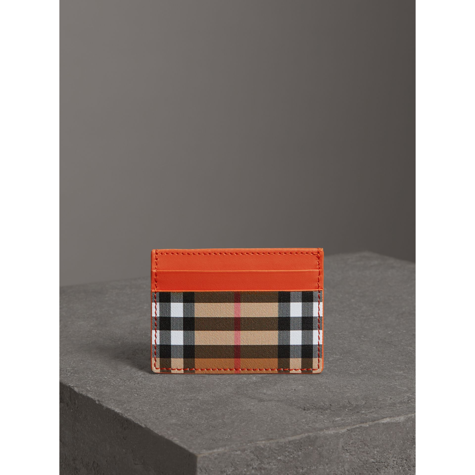 Vintage Check and Leather Card Case in Clementine - Women | Burberry - gallery image 3