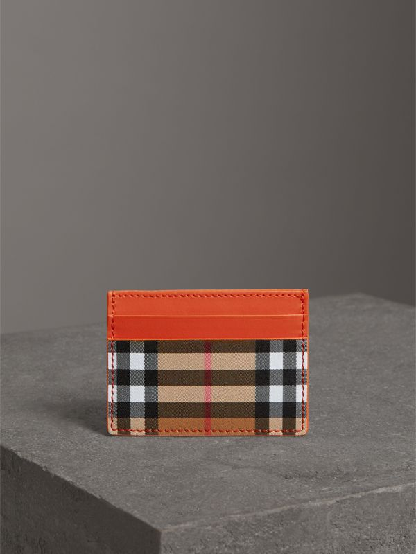 Vintage Check and Leather Card Case in Clementine - Women | Burberry Hong Kong - cell image 3