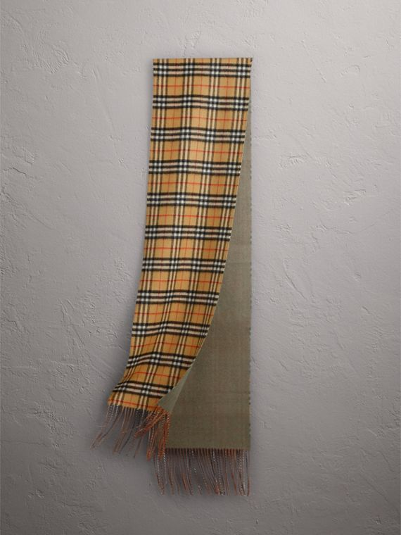 Long Reversible Vintage Check Double-faced Cashmere Scarf in Chalk Green