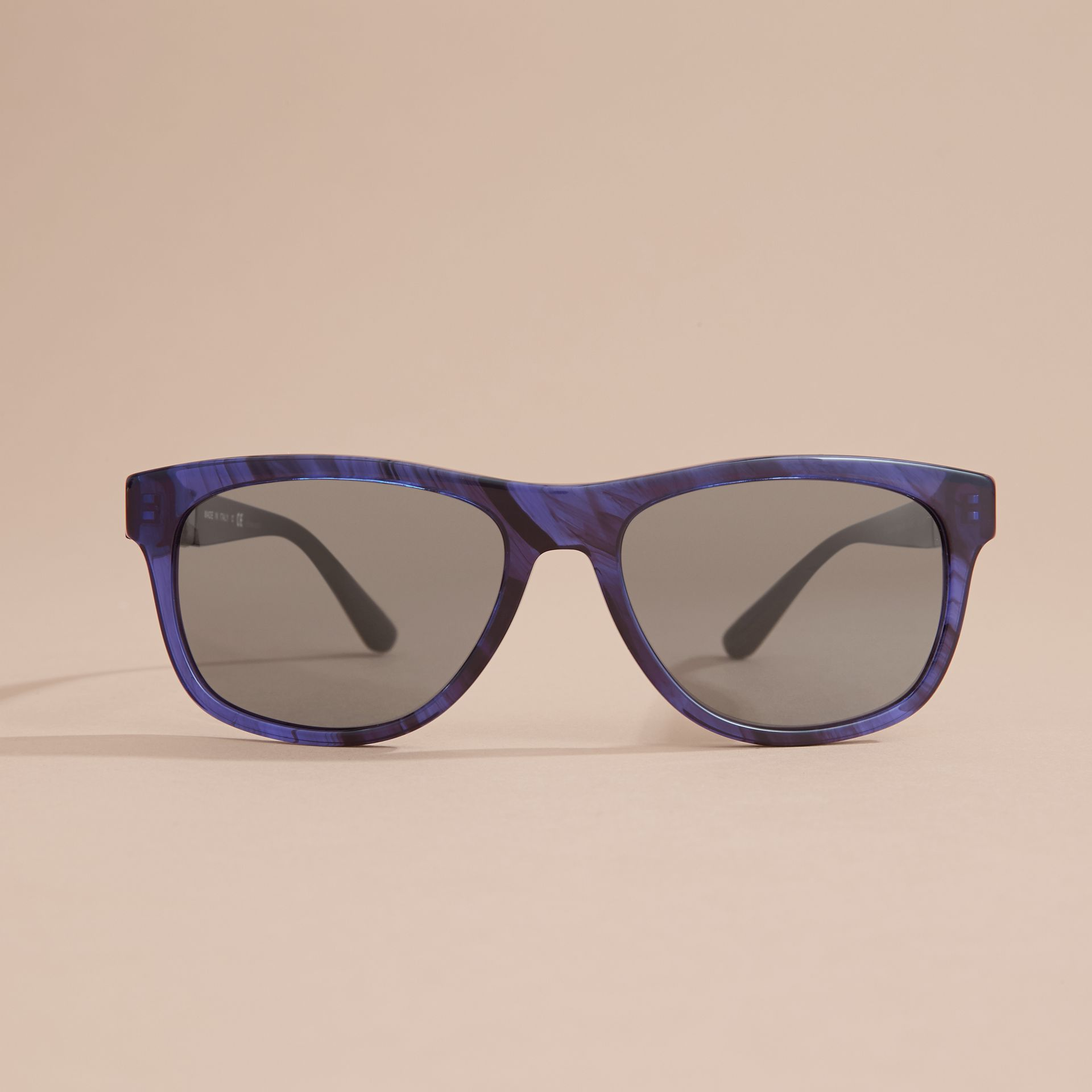 Check Detail Square Frame Sunglasses in Blue - Men | Burberry - gallery image 3