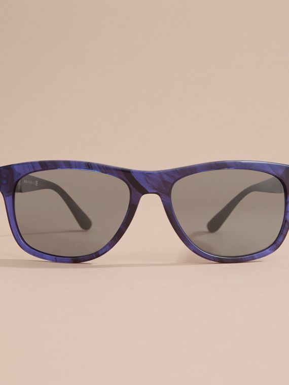 Check Detail Square Frame Sunglasses in Blue - Men | Burberry - cell image 2