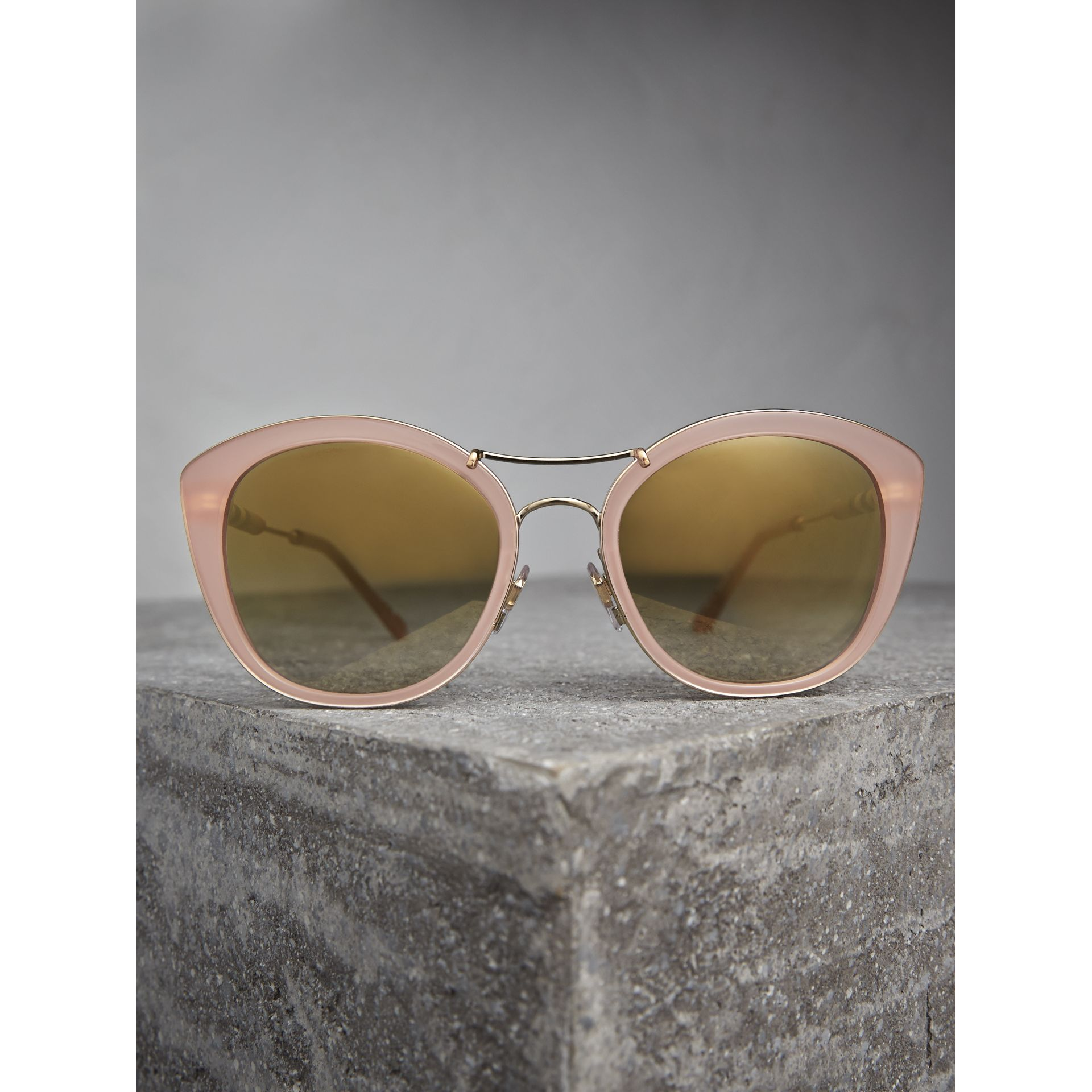 Check Detail Round Frame Sunglasses in Rose Pink - Women | Burberry - gallery image 3