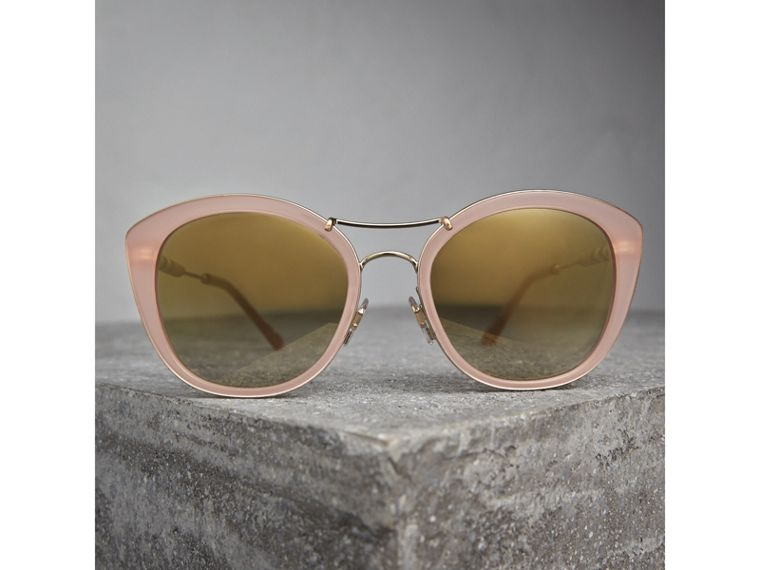 Check Detail Round Frame Sunglasses in Rose Pink - Women | Burberry - cell image 2