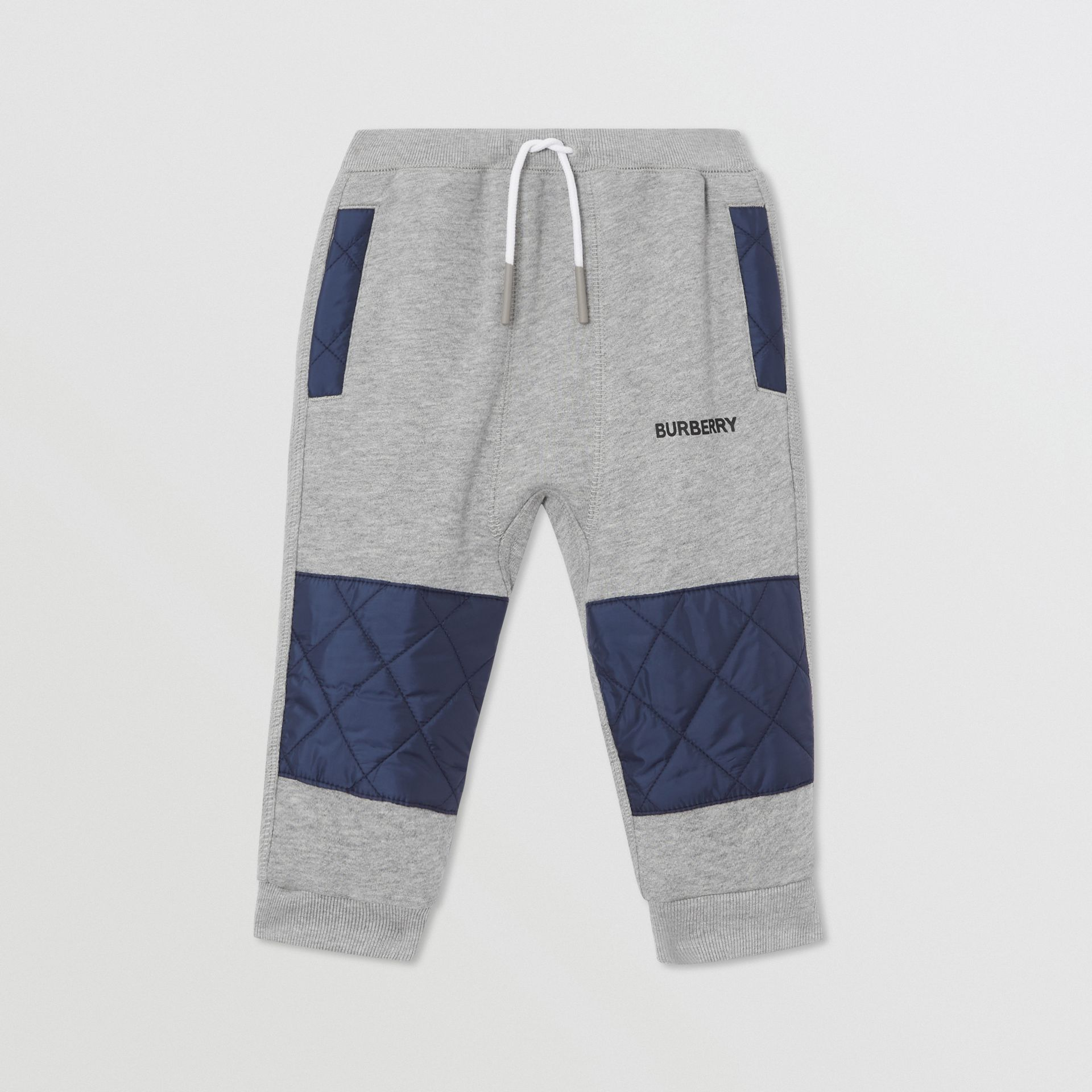 Diamond Quilted Detail Cotton Trackpants in Grey Melange - Children | Burberry - gallery image 0