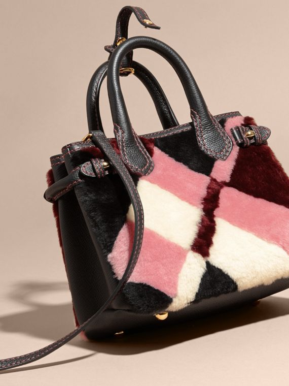 The Baby Banner in Patchwork Check Shearling and Leather in Pink - Women | Burberry - cell image 3