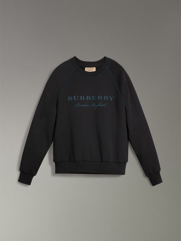 Embroidered Jersey Sweatshirt in Black - Men | Burberry United Kingdom - cell image 3