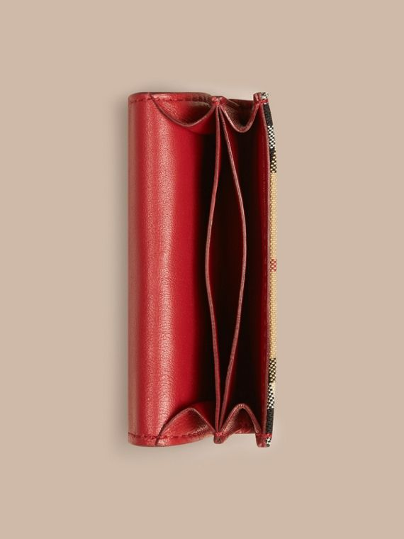 Horseferry Check and Leather Card Case Parade Red - cell image 3