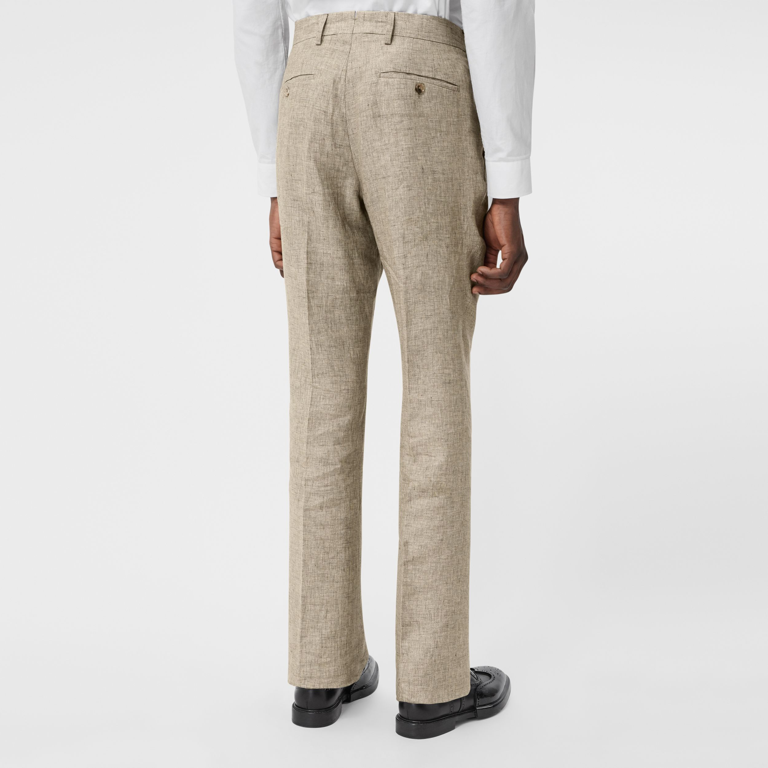 Classic Fit Linen Tailored Trousers in Cedar Brown Melange - Men | Burberry - 3