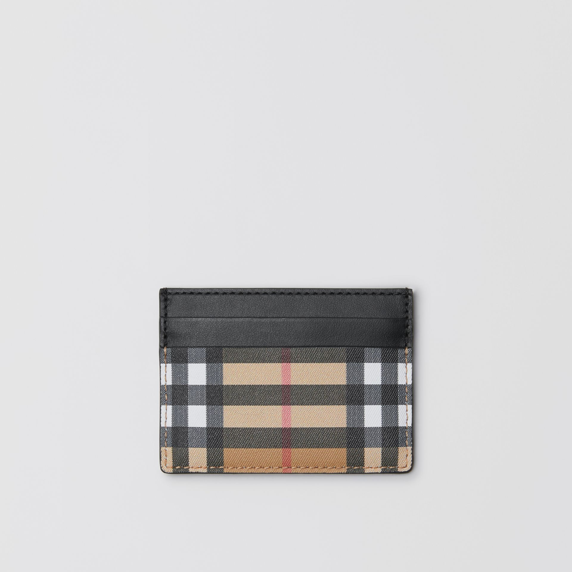Vintage Check Leather Card Case in Black | Burberry Australia - gallery image 0