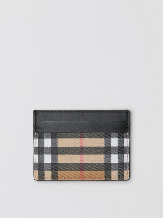 Vintage 格紋皮革卡片夾 (黑色)