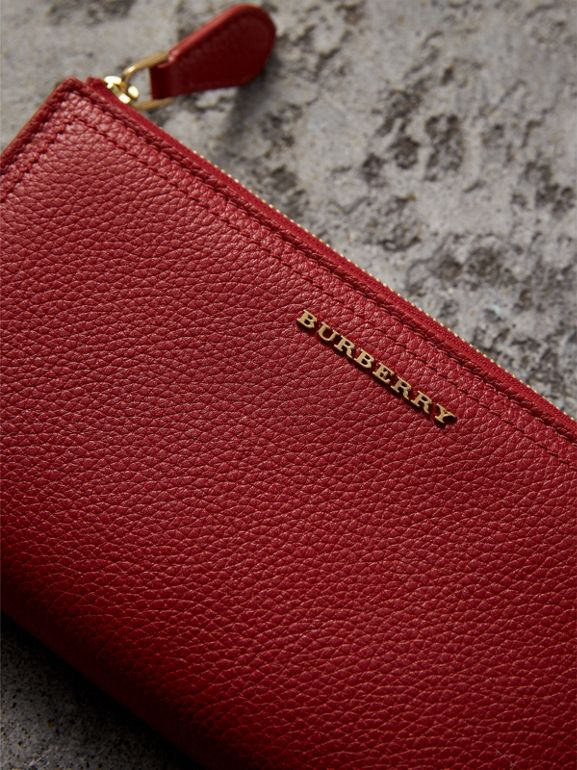 Grainy Leather Ziparound Wallet in Parade Red - Women | Burberry - cell image 1