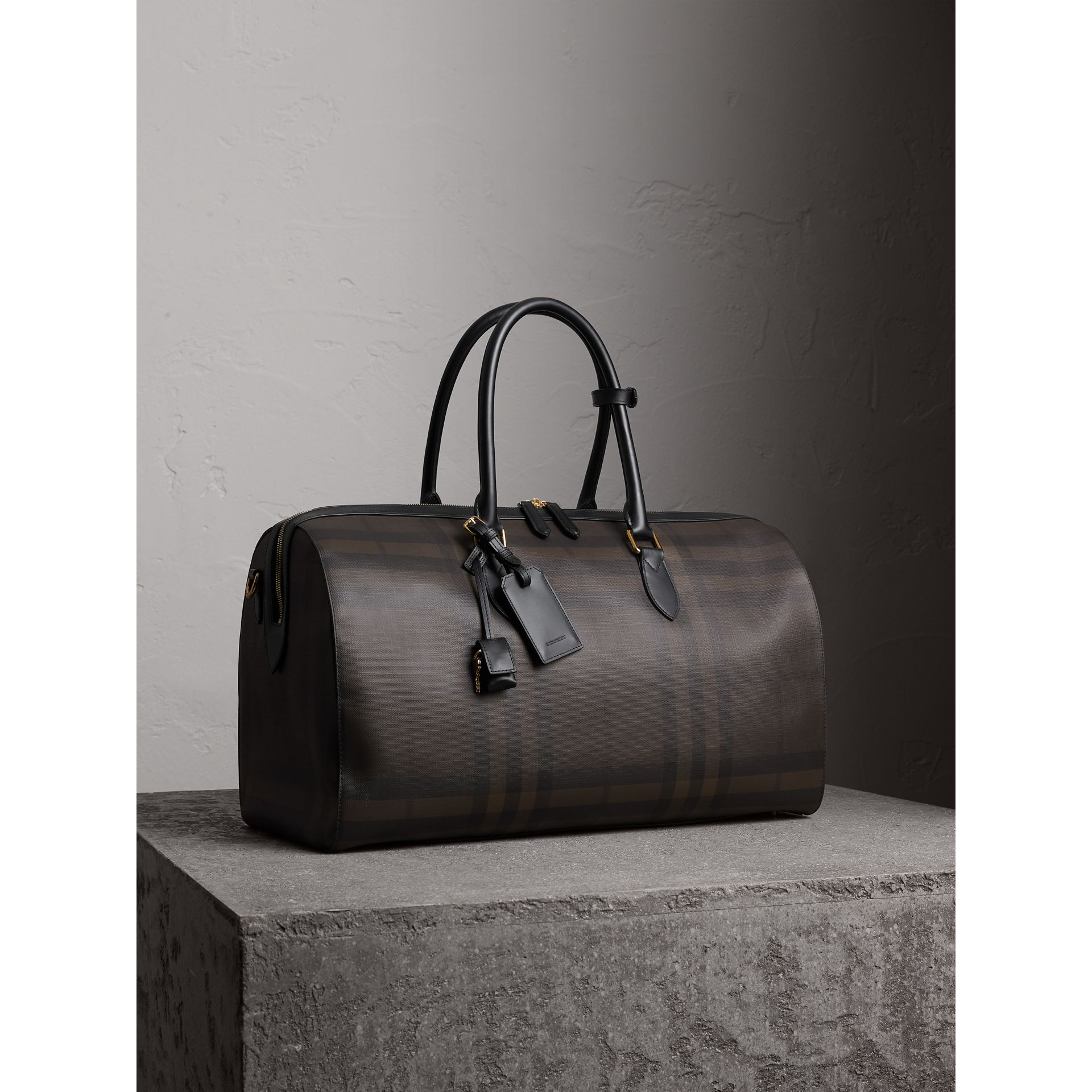 Leather Trim London Check Holdall in Chocolate/black - Men | Burberry - gallery image 7