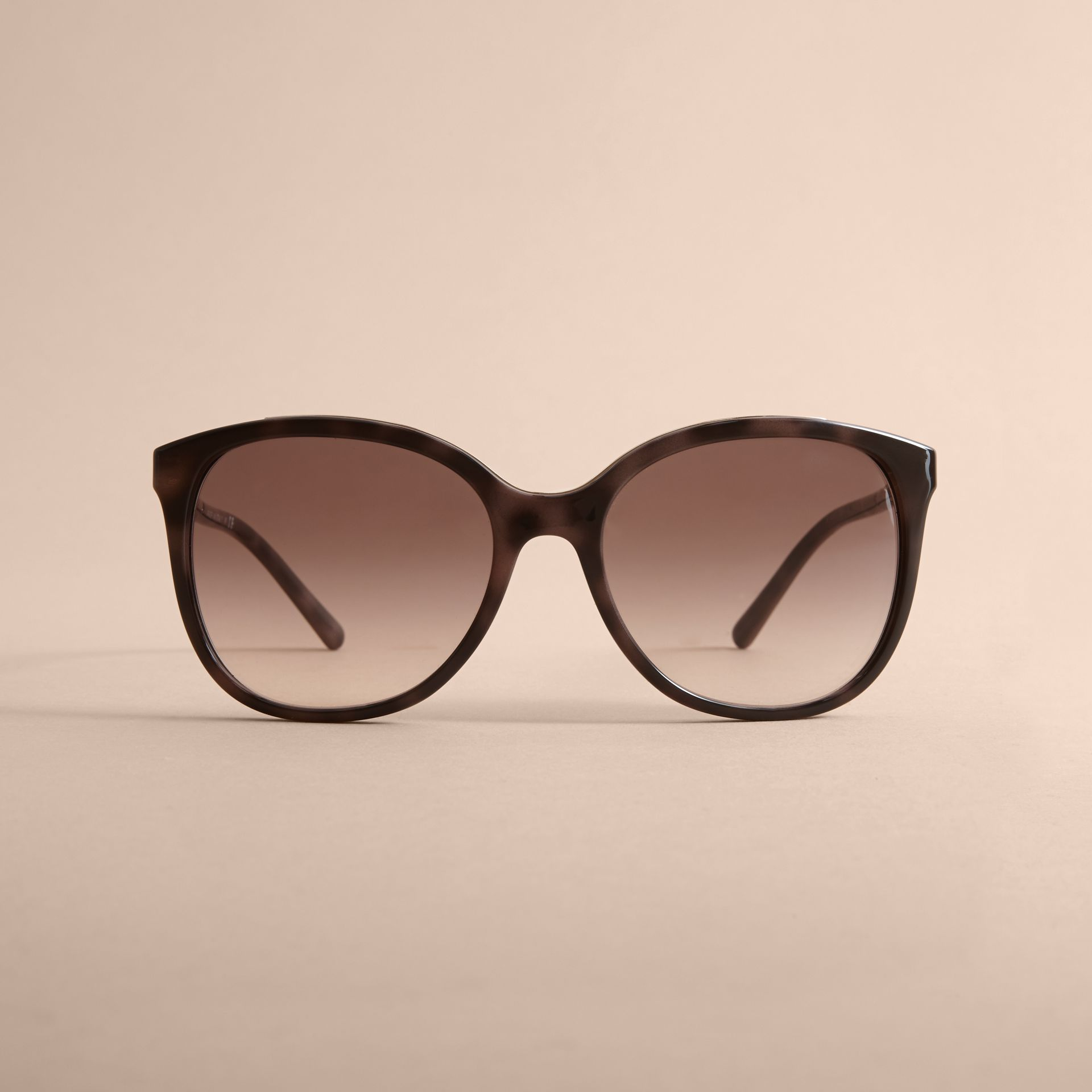 Check Detail Square Frame Sunglasses in Tortoiseshell - Women | Burberry - gallery image 3