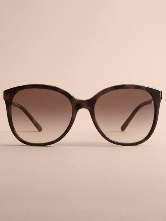 Check Detail Square Frame Sunglasses in Tortoiseshell - Women | Burberry Singapore - cell image 2