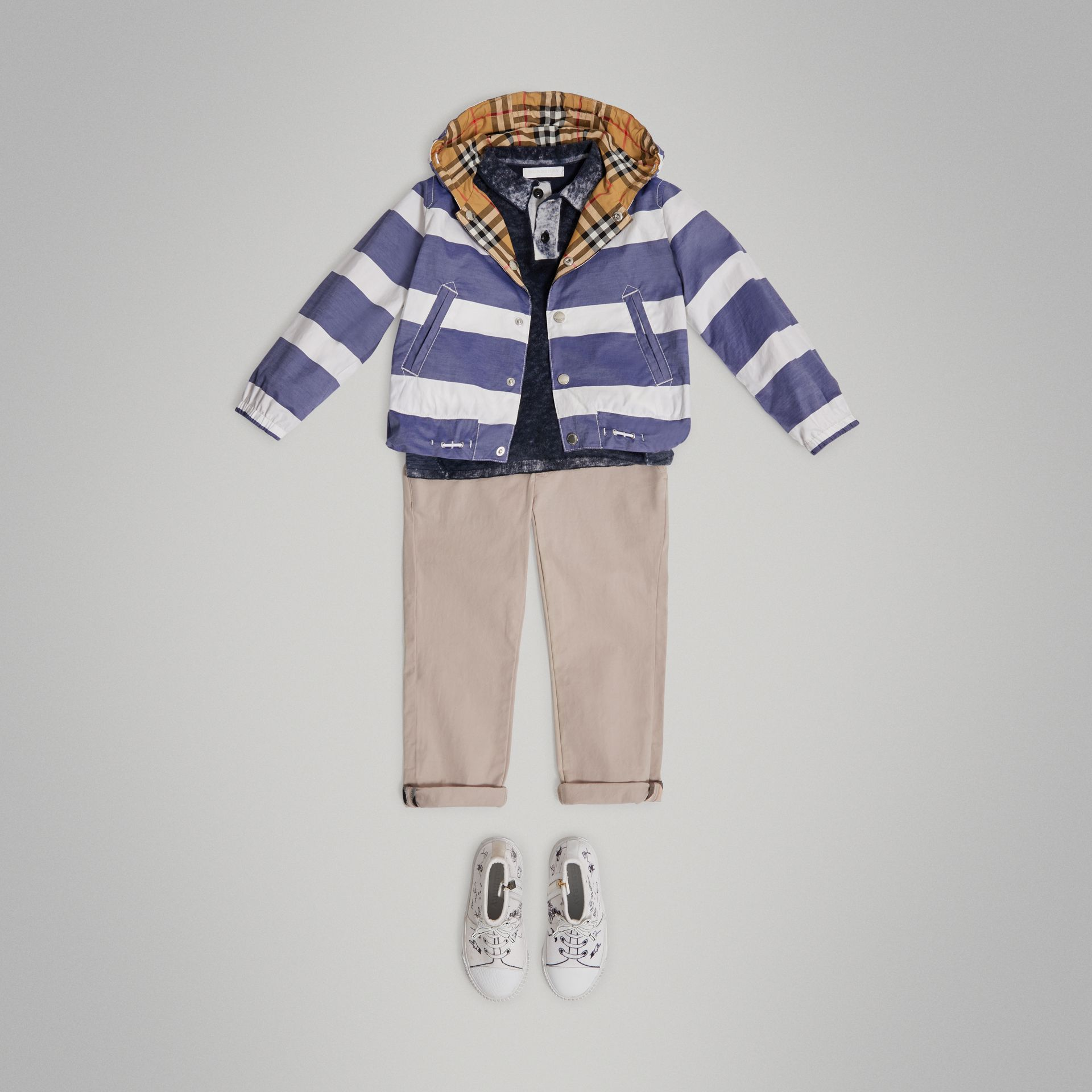 Reversible Stripe and Vintage Check Cotton Jacket in Navy/white - Boy | Burberry - gallery image 0