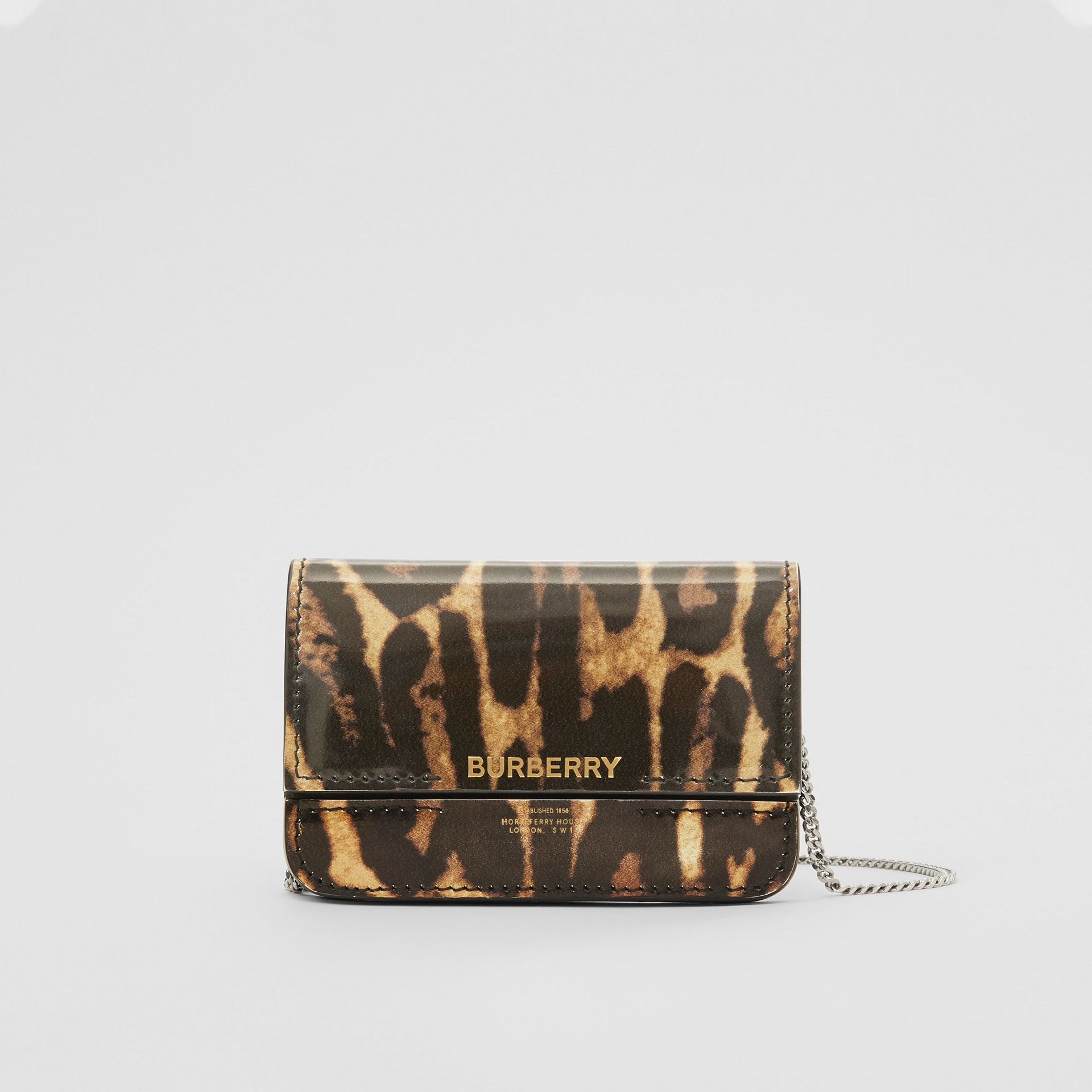 Leopard Print Leather Card Case with Chain Strap in Dark Mustard - Women | Burberry United States - gallery image 0