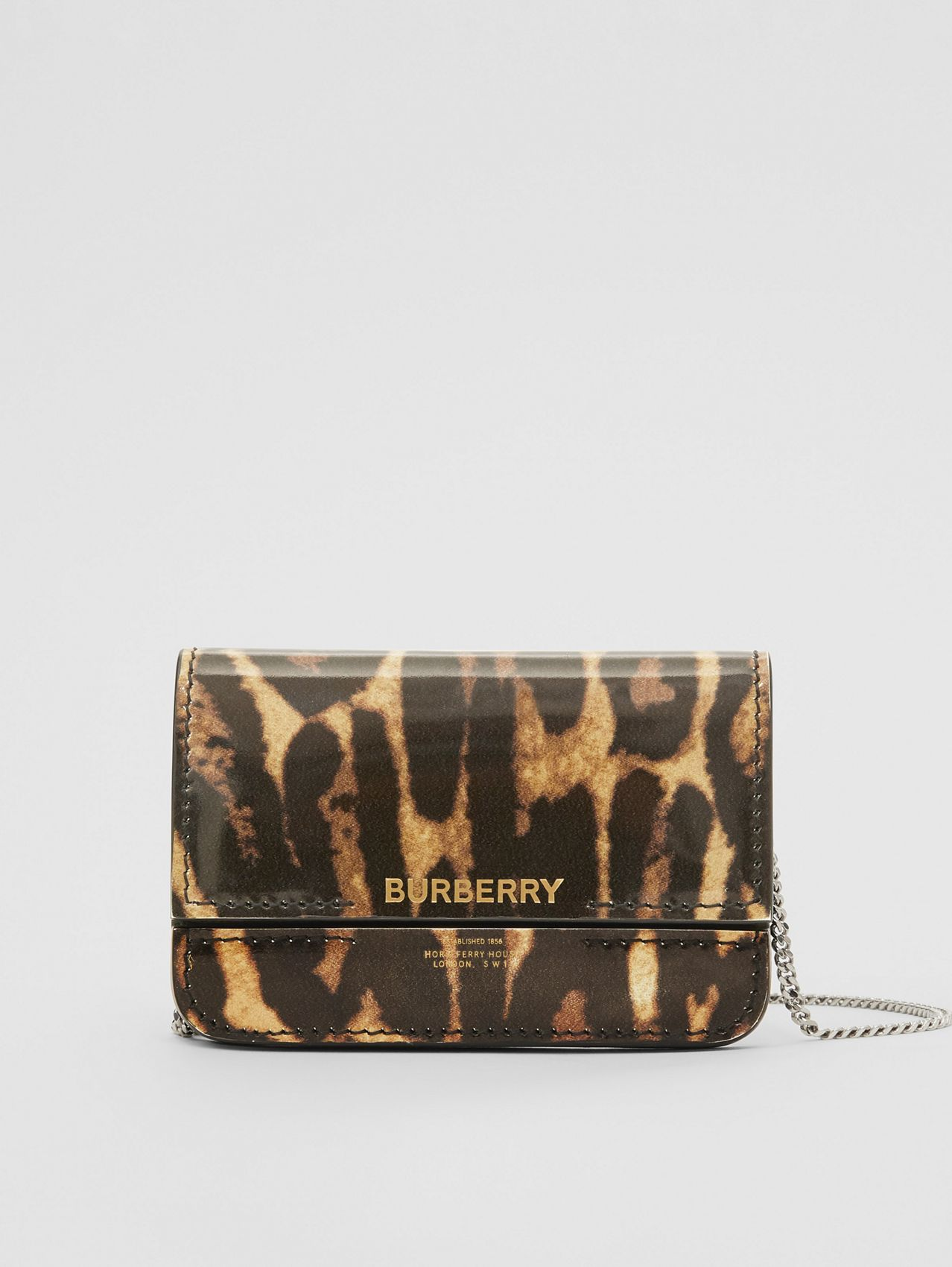 Leopard Print Leather Card Case with Chain Strap in Dark Mustard