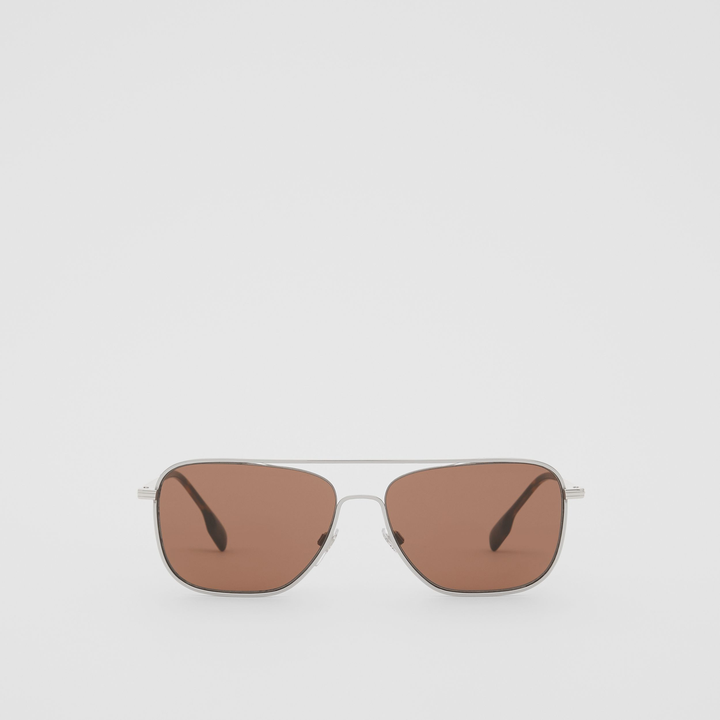 Top Bar Detail Square Frame Sunglasses in Gold - Men | Burberry - 1