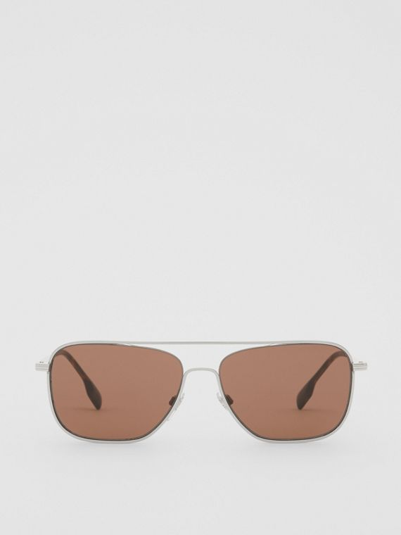 Top Bar Detail Square Frame Sunglasses in Gold