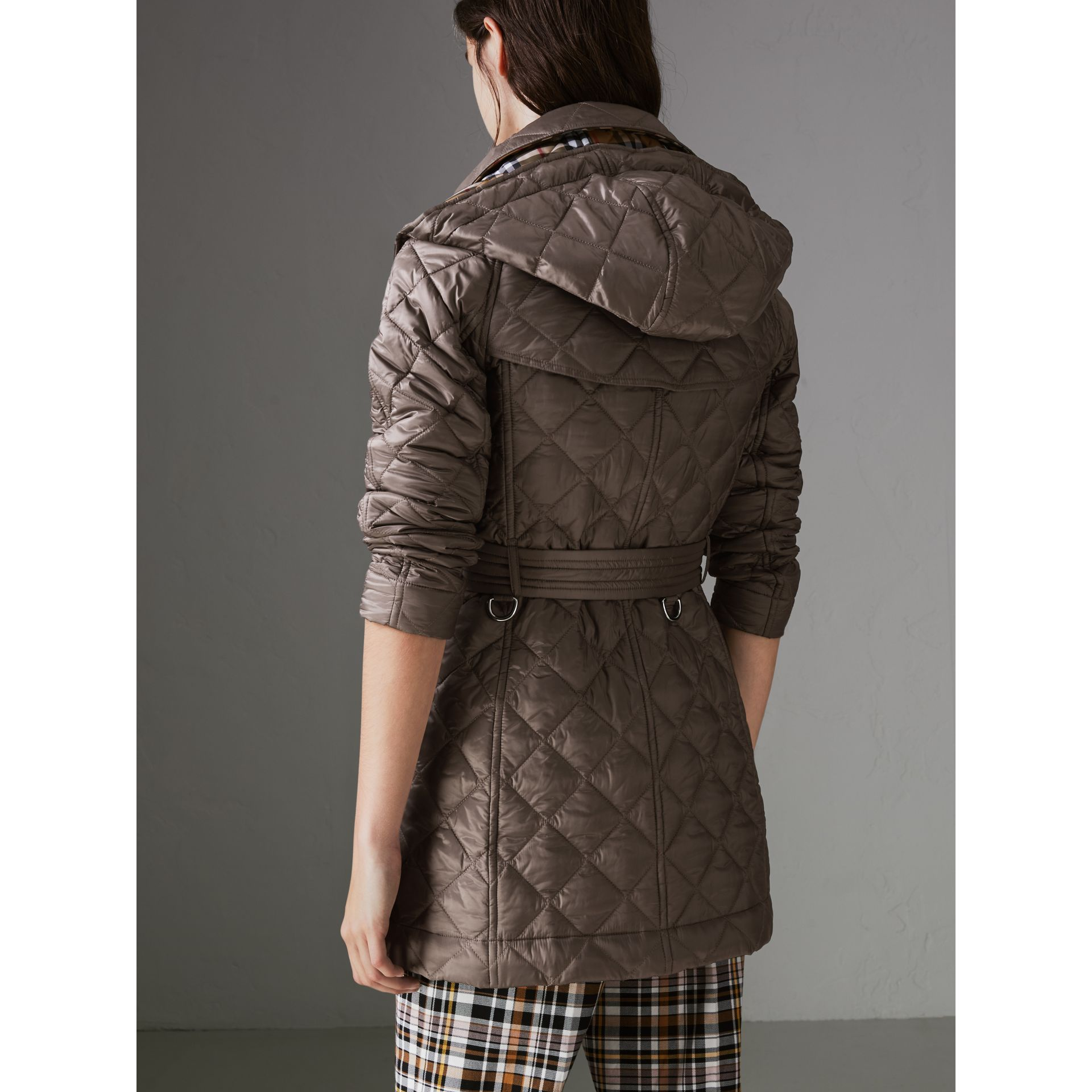 Detachable Hood Lightweight Diamond Quilted Coat in Mink Grey - Women | Burberry - gallery image 2