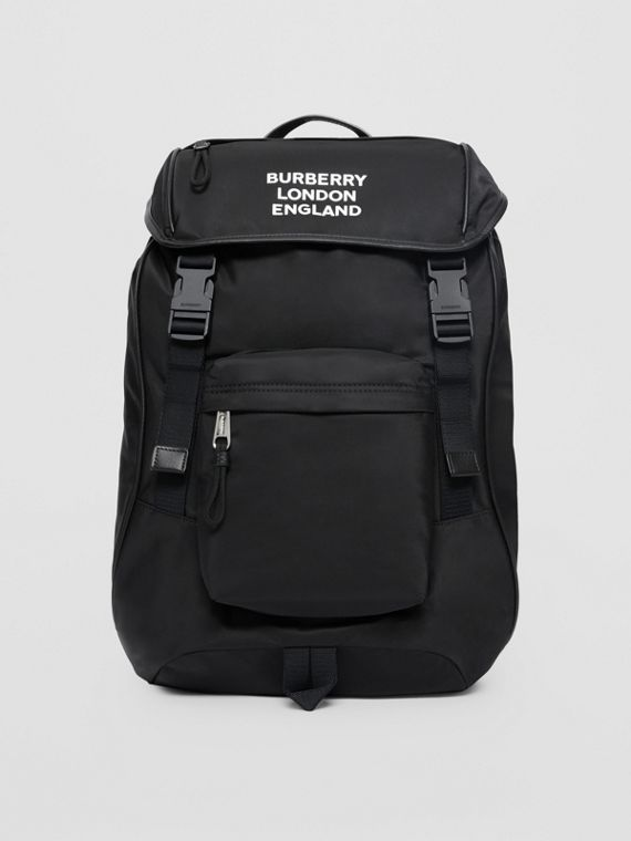 Logo Print ECONYL® Backpack in Black