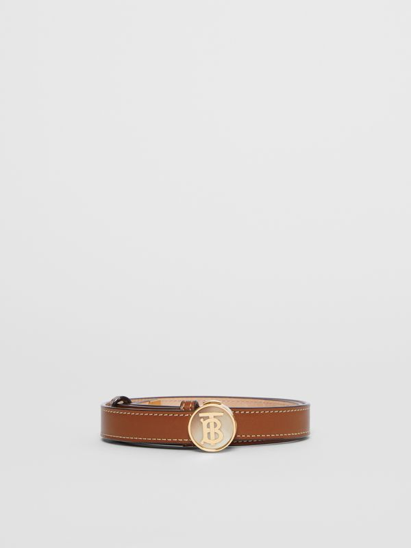 Monogram Motif Leather Belt in Tan - Women | Burberry - cell image 3