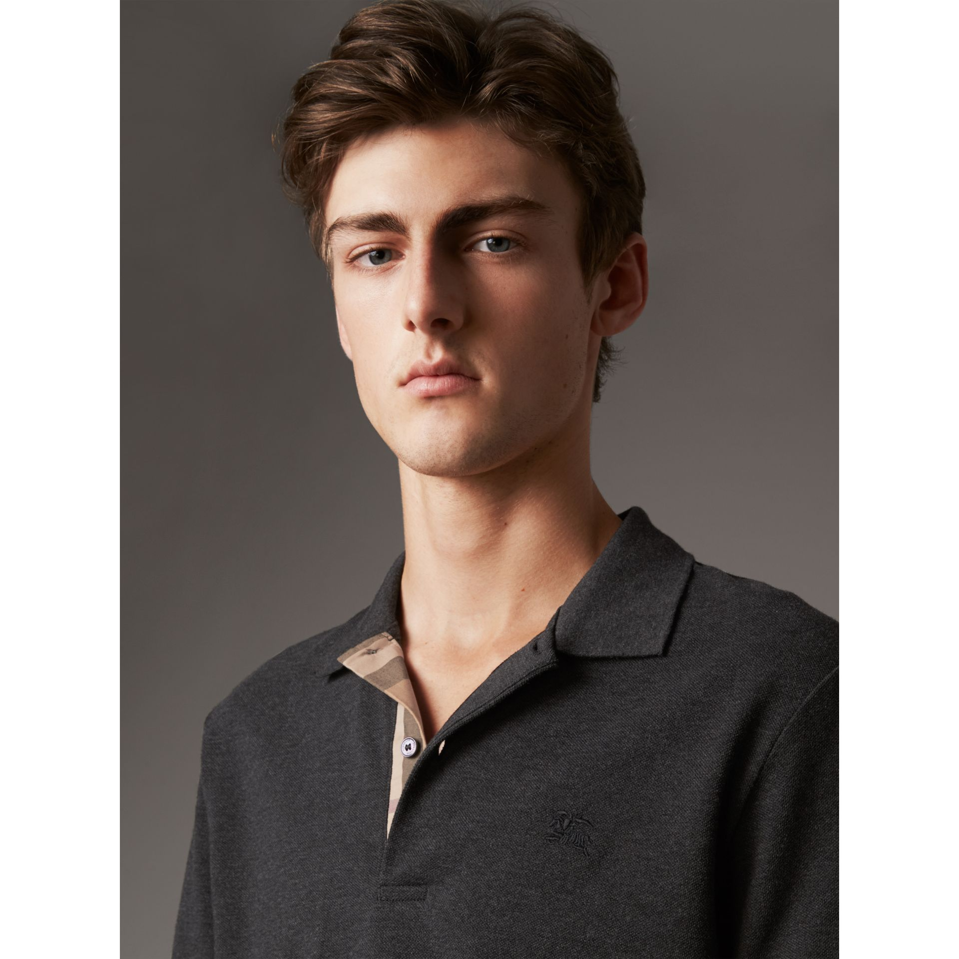 Check Placket Cotton Piqué Polo Shirt in Dark Charcoal Melange - Men | Burberry Australia - gallery image 1