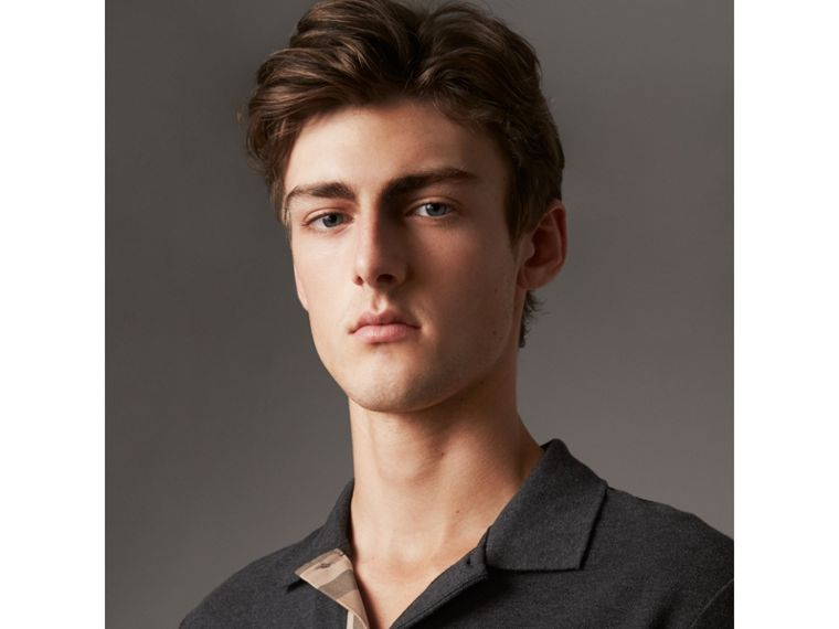 Check Placket Cotton Piqué Polo Shirt in Dark Charcoal Melange - Men | Burberry Hong Kong - cell image 1