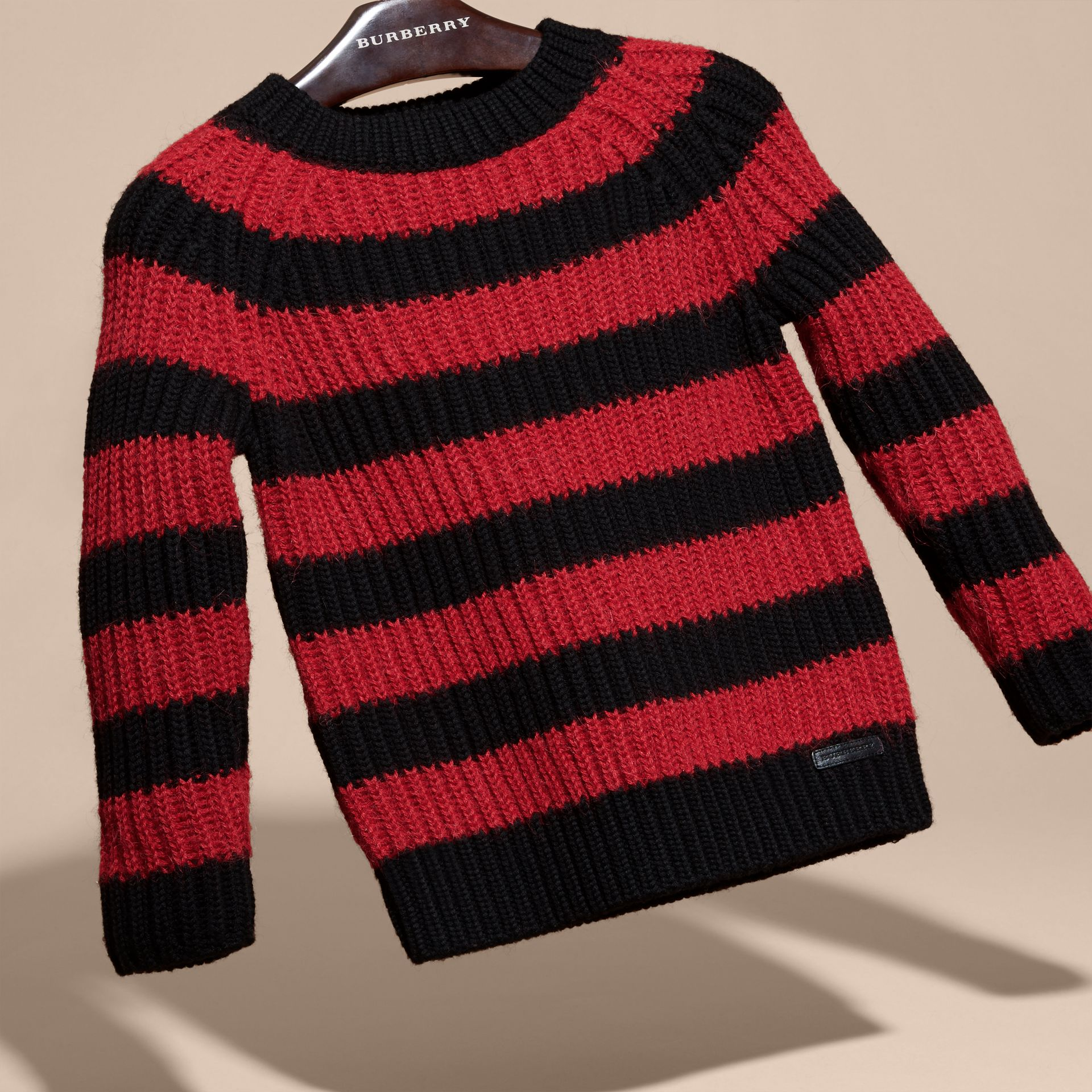 Parade red Striped Merino and Alpaca Wool Sweater - gallery image 3