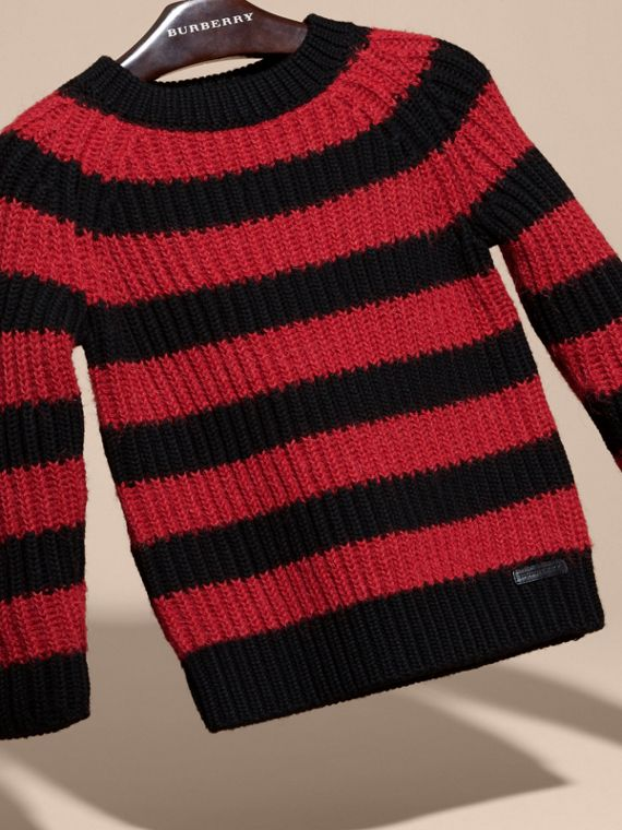 Parade red Striped Merino and Alpaca Wool Sweater - cell image 2