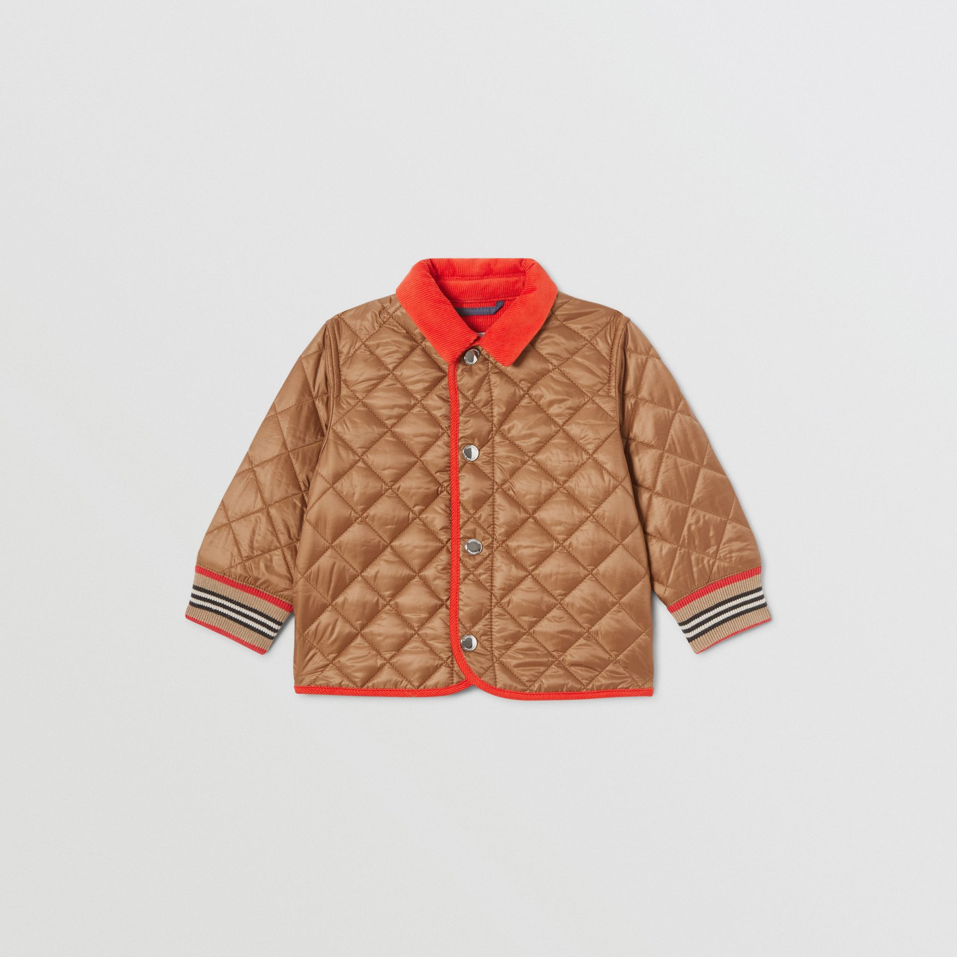 Corduroy Trim Lightweight Diamond Quilted Jacket in Bronze - Children | Burberry - gallery image 0