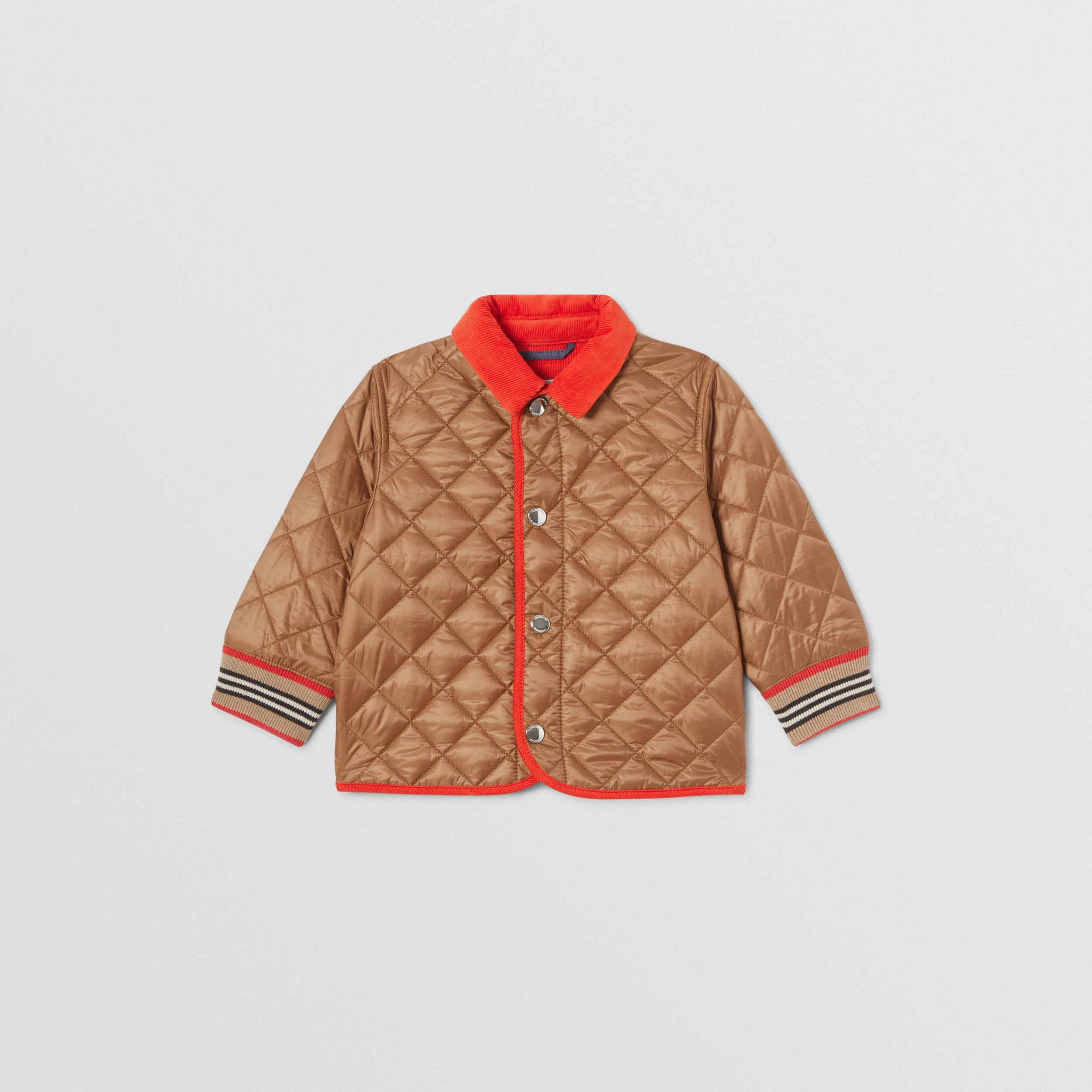 Corduroy Trim Lightweight Diamond Quilted Jacket in Bronze - Children | Burberry - 1
