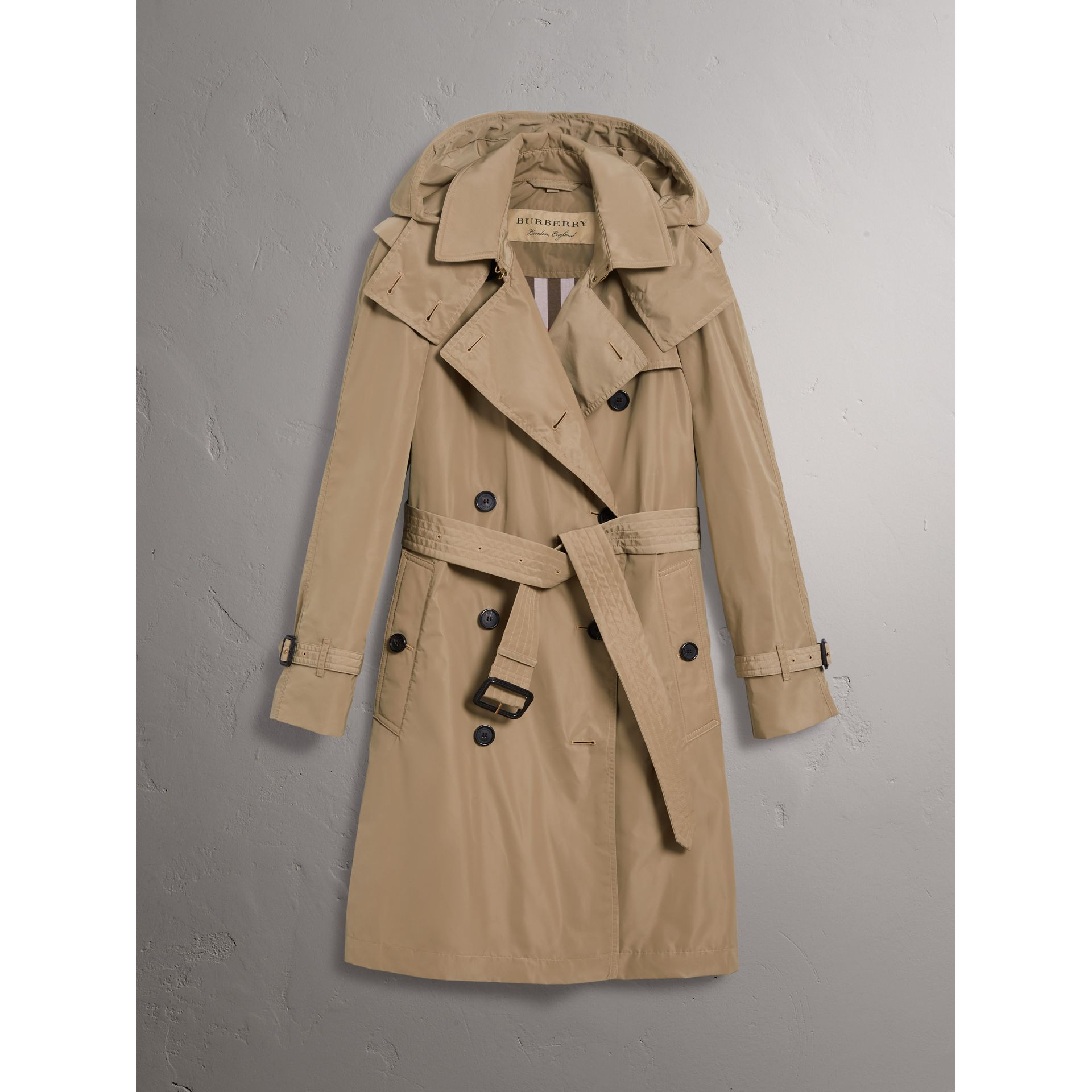 Detachable Hood Taffeta Trench Coat in Sisal - Women | Burberry Canada - gallery image 3