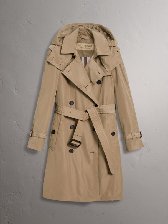 Detachable Hood Taffeta Trench Coat in Sisal - Women | Burberry Australia - cell image 3