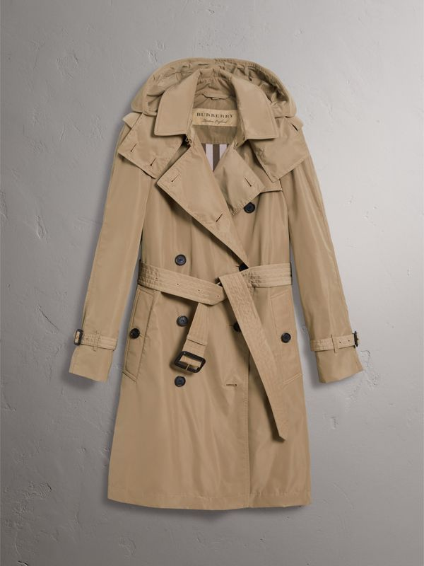 Detachable Hood Taffeta Trench Coat in Sisal - Women | Burberry United Kingdom - cell image 3
