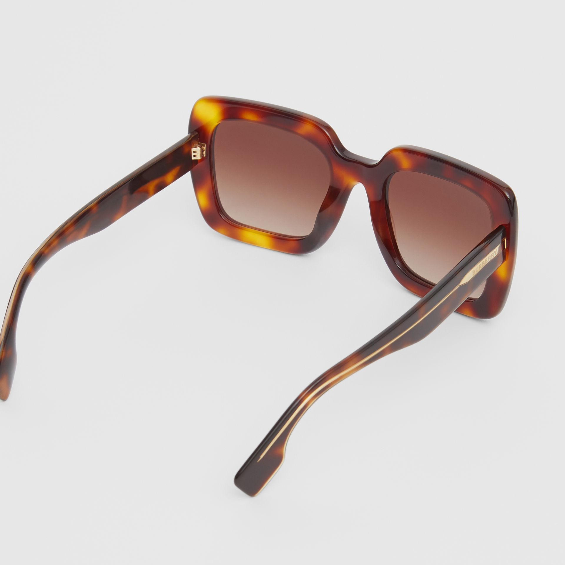 Oversized Square Frame Sunglasses in Tortoiseshell - Women | Burberry - gallery image 3