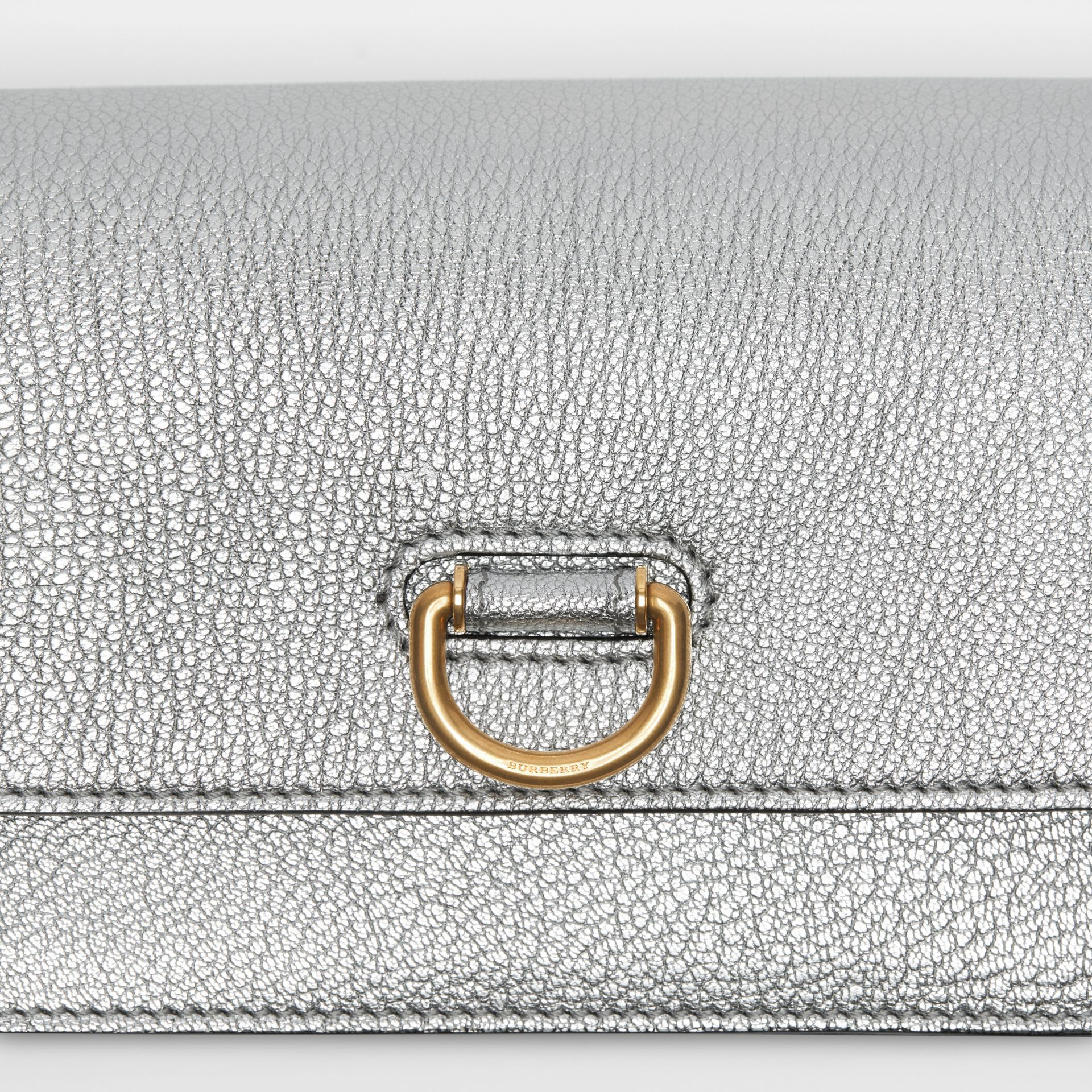 The Mini Leather D-ring Bag in Silver - Women | Burberry Canada - gallery image 1