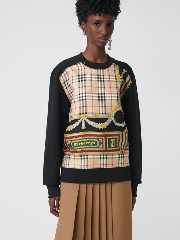Archive Scarf Print Panel Sweatshirt in Black - Women | Burberry - cell image 2