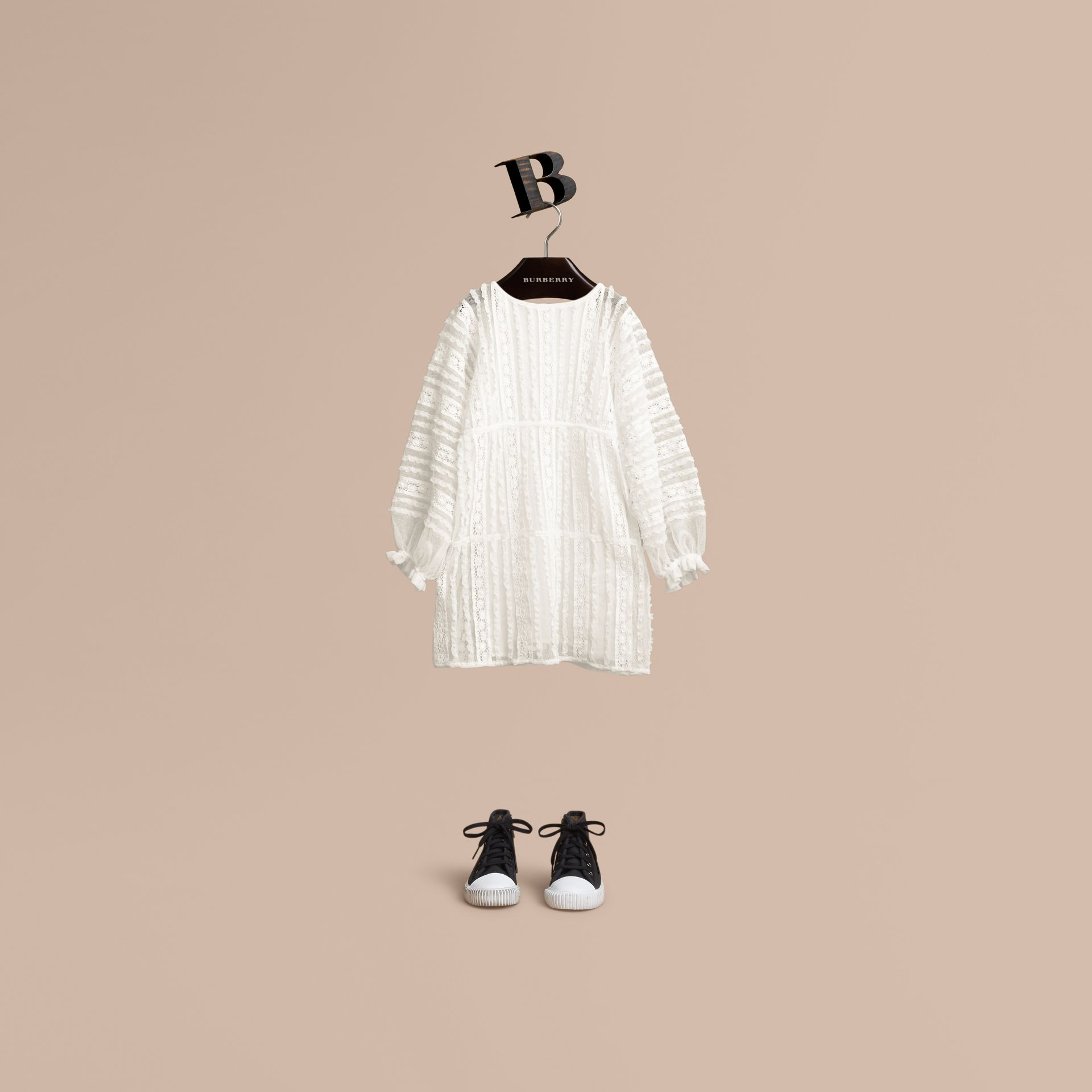Lace Trim Cotton Dress in White | Burberry - gallery image 1