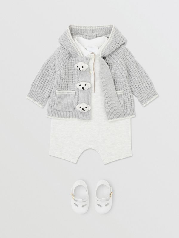 Thomas Bear Detail Wool Cashmere Hooded Jacket in Pale Grey - Children | Burberry - cell image 3