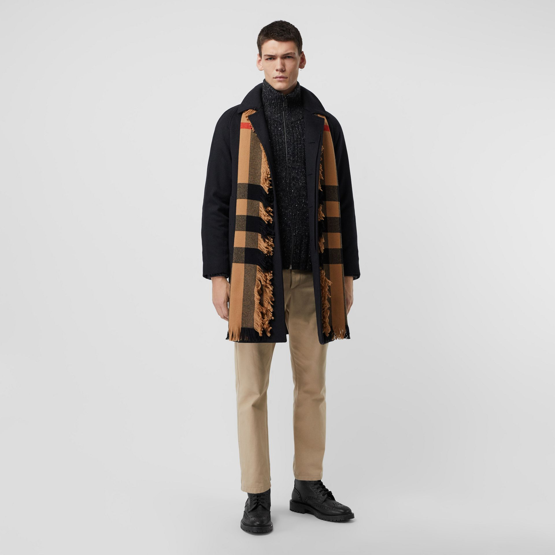 Fringed Check Wool Scarf in Camel | Burberry - gallery image 3