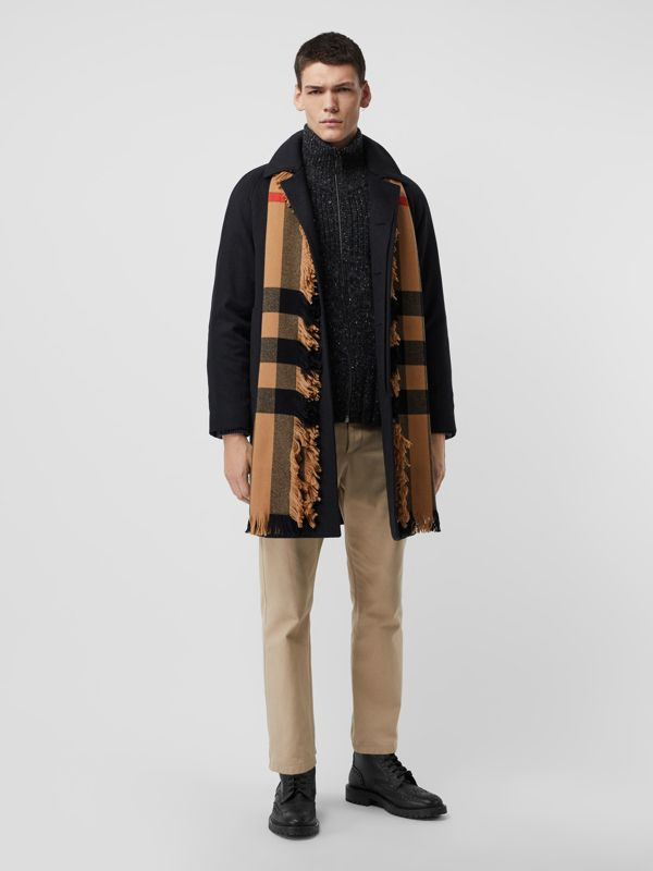 Fringed Check Wool Scarf in Camel | Burberry - cell image 3