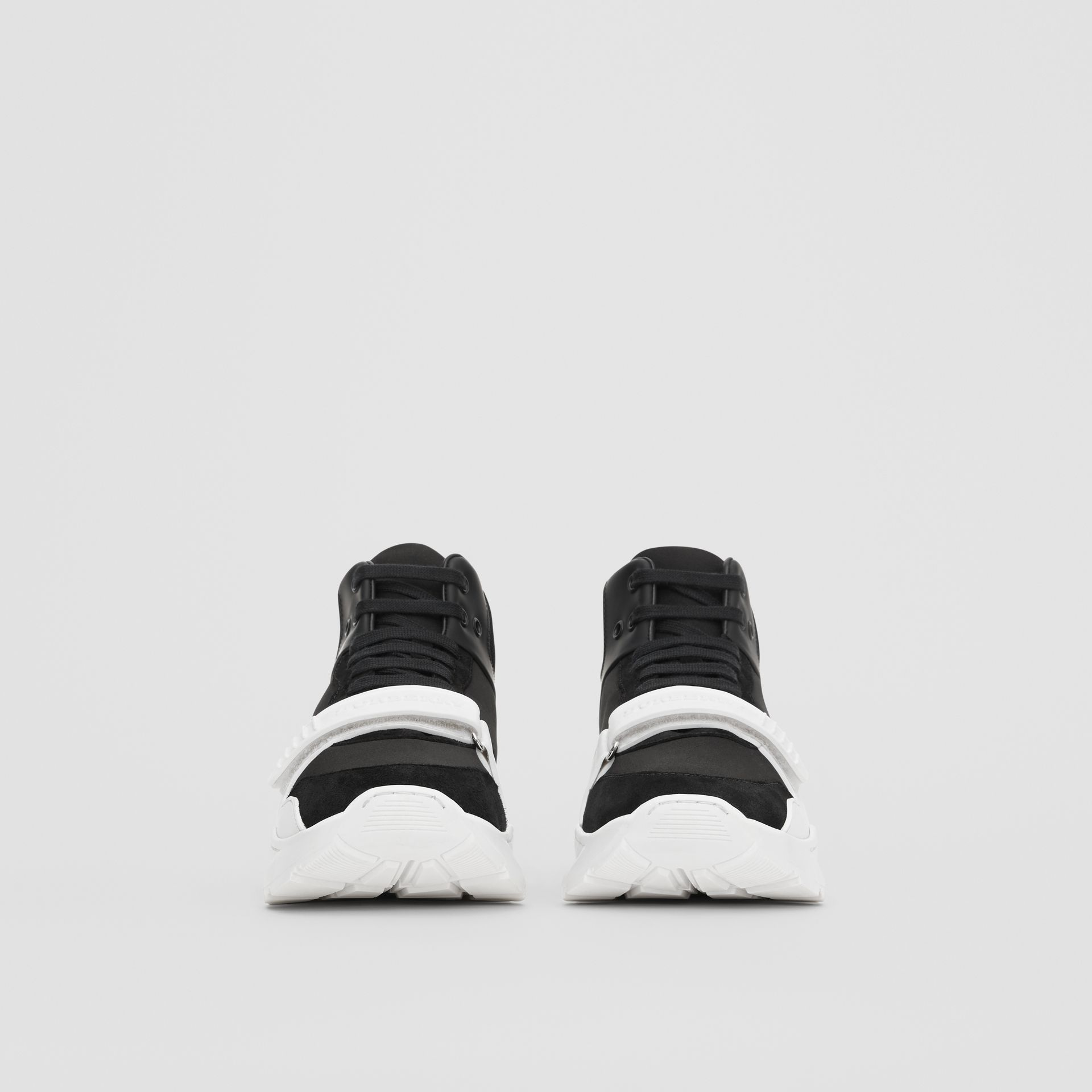 Suede and Neoprene High-top Sneakers in Black/optic White | Burberry - gallery image 2
