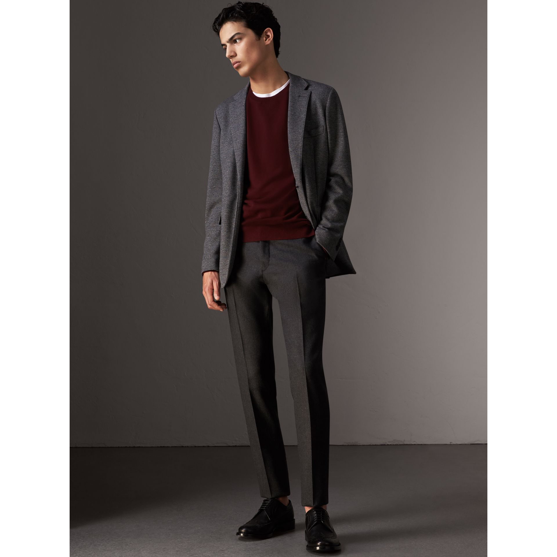 Check Jacquard Detail Cashmere Sweater in Deep Claret - Men | Burberry Singapore - gallery image 5