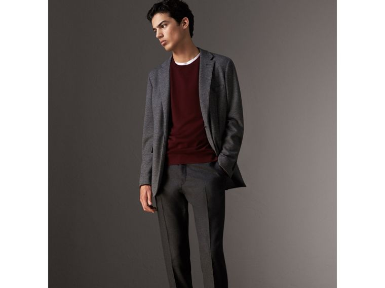 Check Jacquard Detail Cashmere Sweater in Deep Claret - Men | Burberry United Kingdom - cell image 4
