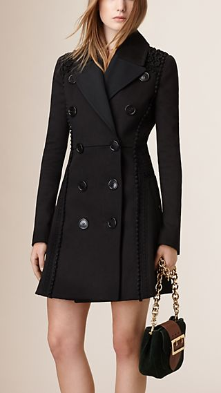 Sculptured Lace-Trimmed Sateen Trench Coat