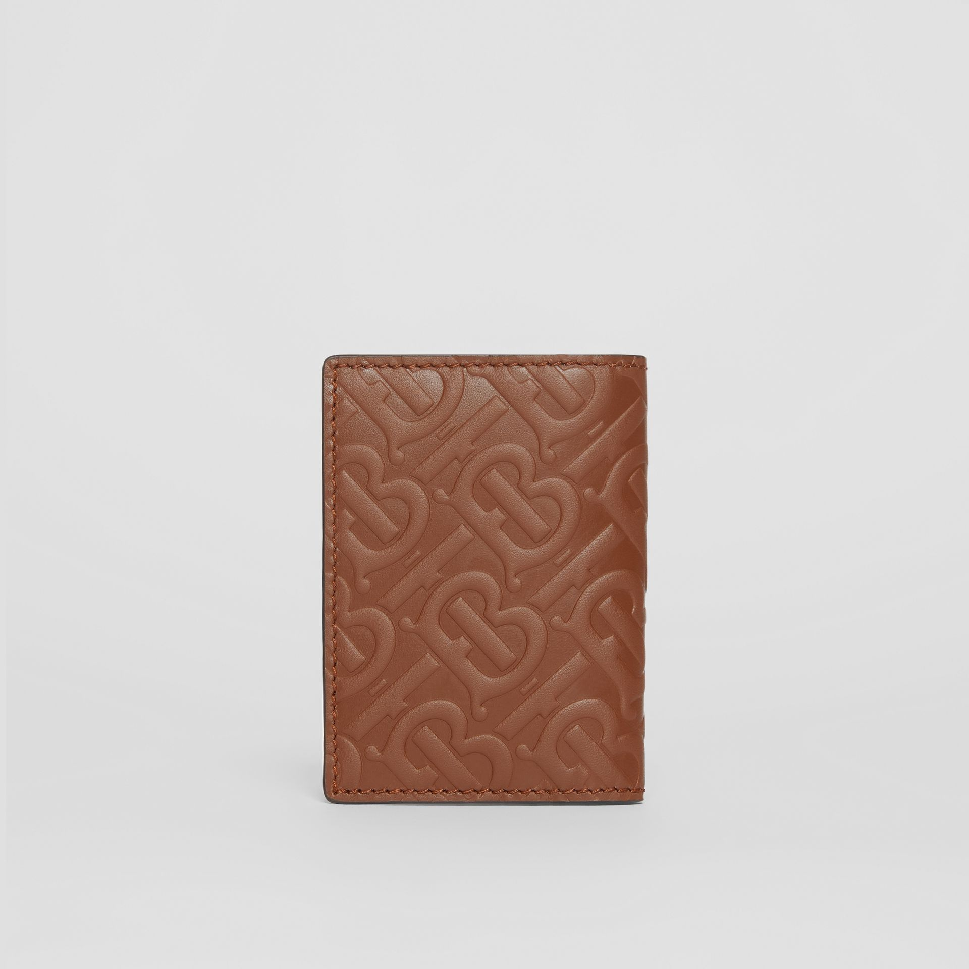 Monogram Leather Bifold Card Case in Dark Tan - Men | Burberry United Kingdom - gallery image 4